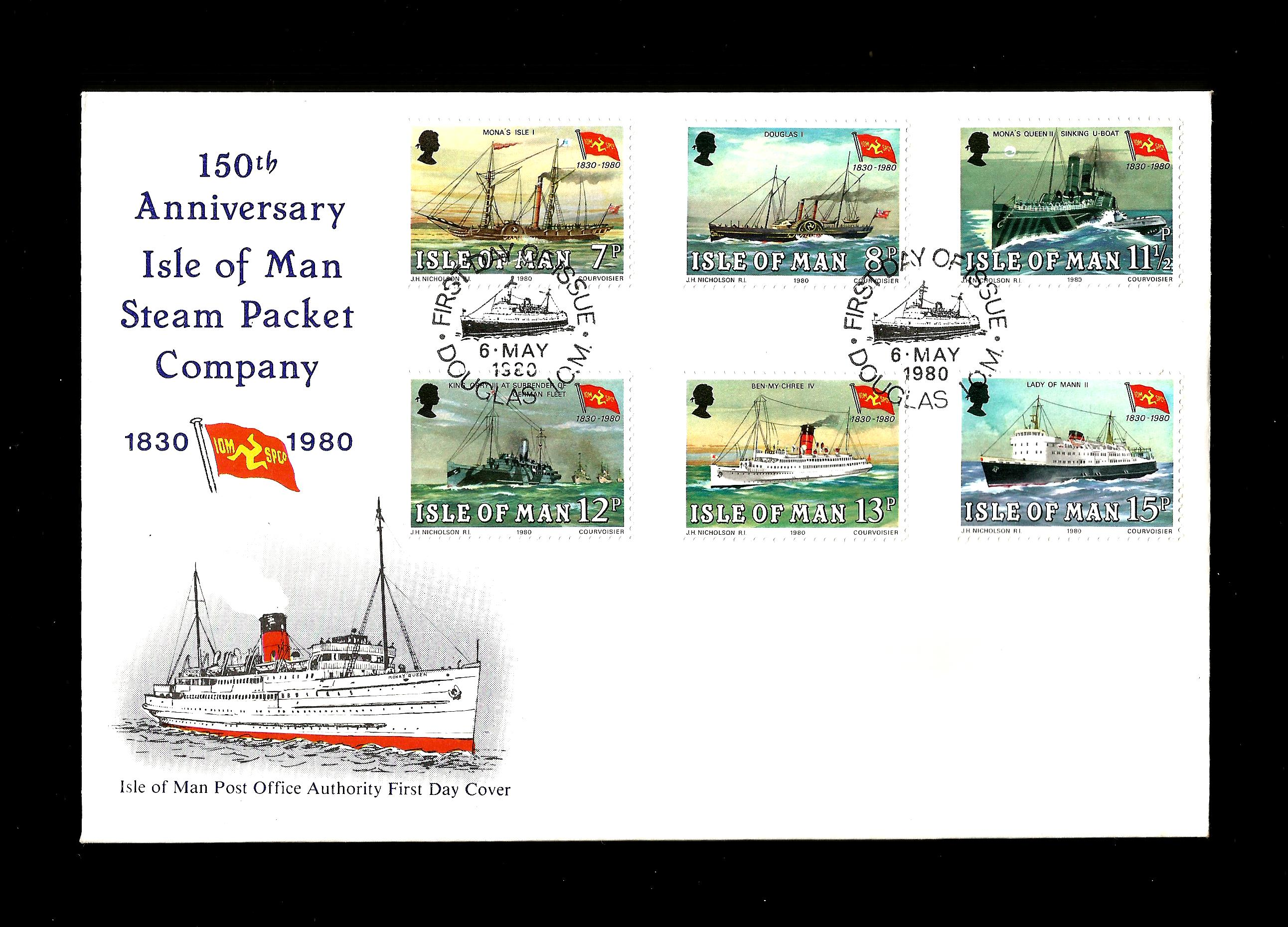 1980 Isle of Man First Day Cover Steam Packet Company